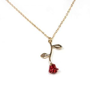 18k Gold and Silver necklaces women personalized long necklaces gold necklace rose pendant flower jewelry for girl teen women wife girlfriend friends gift original by Arget (Gold)