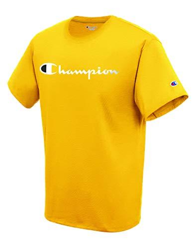 Champion Mens Classic Jersey Script T-Shirt, Team Gold, Small