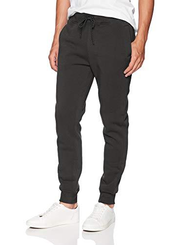 WT02 Mens Basic Jogger Fleece Pants, Heather Charcoal, Medium