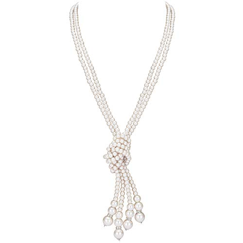 """BABEYOND 1920s Imitation Pearls Necklace Gatsby Long Knot Pearl Necklace 49"""" 20s Pearls 1920s Flapper Accessories (Knot Pearl Necklace x 2)"""""""