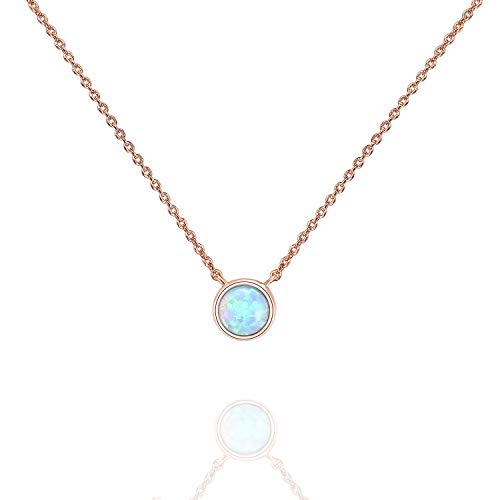 PAVOI 14K Rose Gold Plated Round Created White Opal Necklace | Opal Necklaces for Women