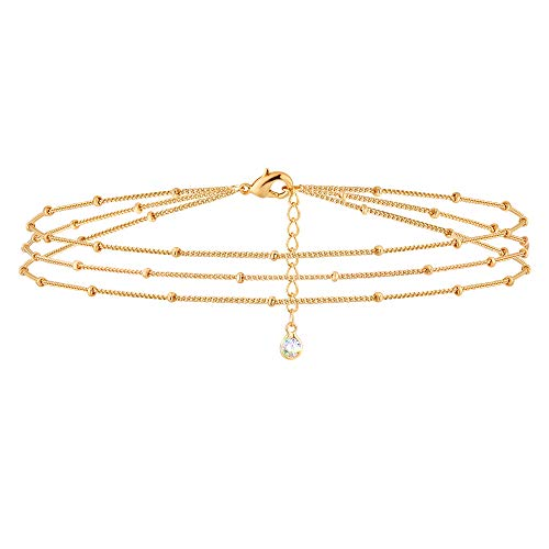 Gold Layered Dainty Bead Chain Bracelet for Women,14K Gold Plated Cute Tiny Three Layered Satellite Chain Bracelet for Women