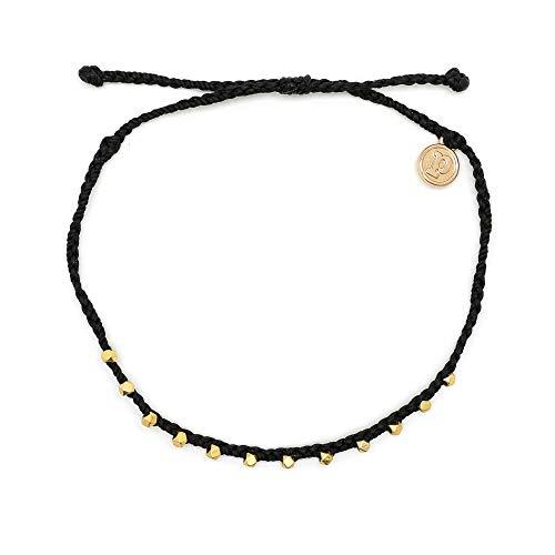 Pura Vida Gold Stitched Beaded Anklet Black - Waterproof, Artisan Handmade, Adjustable, Threaded, Fashion Jewelry for Girls/Women