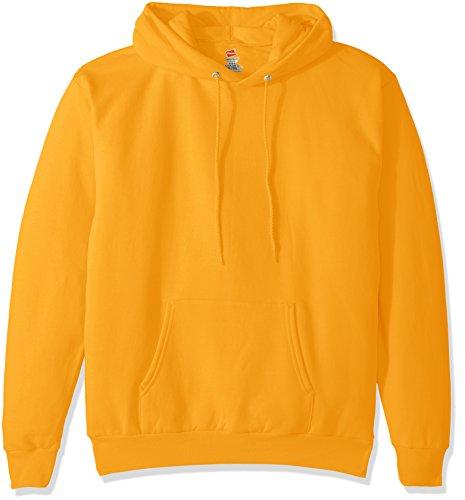 Hanes Mens Pullover EcoSmart Fleece Hooded Sweatshirt, Gold, Medium