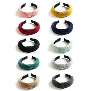 UNIME 10 Pack Wide Headbands Knot Turban Headband Hair Band Elastic Plain Fashion Hair Accessories for Women and Girls, Children 10 Colors
