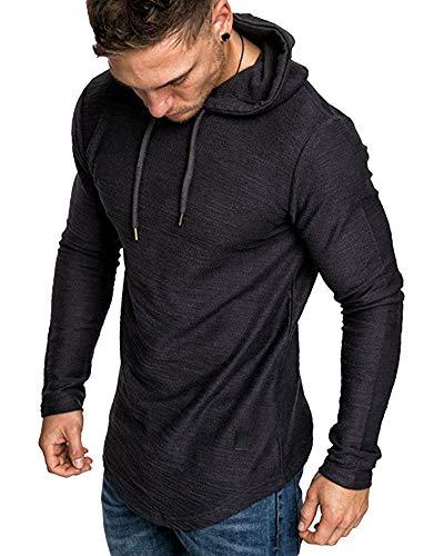 lexiart Mens Fashion Athletic Hoodies Sport Sweatshirt Solid Color Fleece Pullover Black M