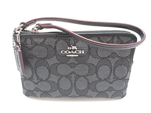 Coach C Signature Logo Wristlet Hand Bag Purse Outline Smoke Gray Black, Small