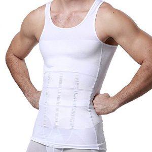 GKVK Mens Slimming Body Shaper Vest Shirt Abs Abdomen Slim, White, M(chest size 86cm-91cm/34inches-36inches)