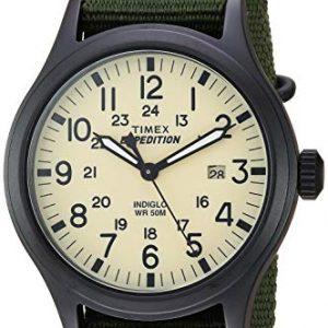 Timex Mens TW4B15500 Expedition Scout 40mm Green/Black/Cream Nylon Slip-Thru Strap Watch